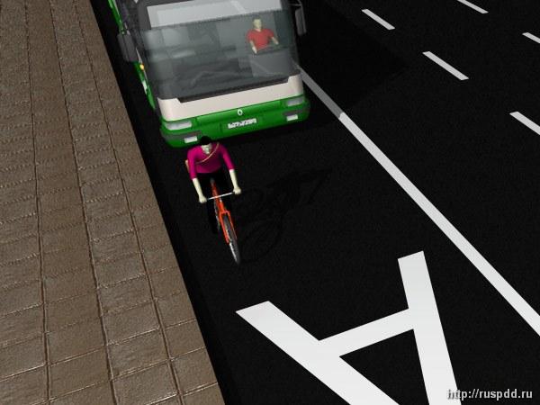 Автобус и велосипедист на одной полосе движения