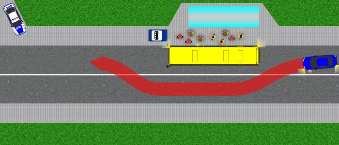 Объезд автобуса через сплошную