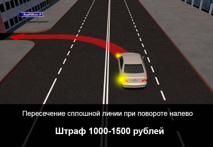 Штраф за пересечение двойной линии