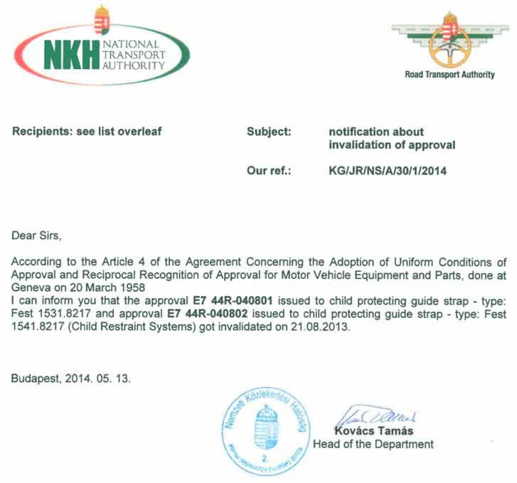 Уведомление об отзыве разрешения на сертификацию ФЭСТ