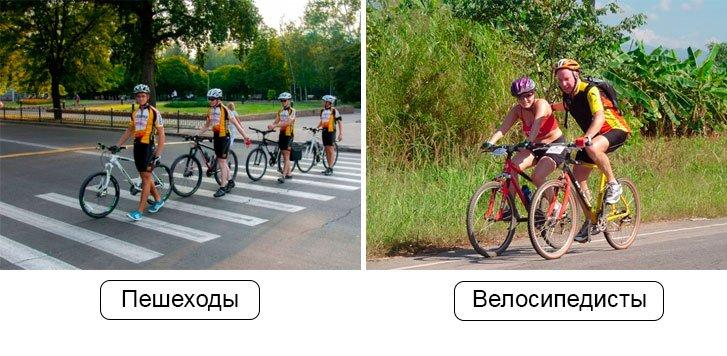 Велосипедисты и пешеходы