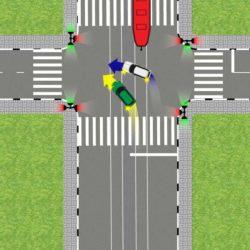 Поворот с трамвайных путей