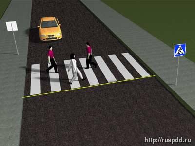 Пешеходный переход с разметкой