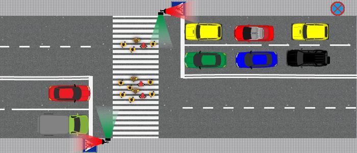Остановка на красный сигнал светофора