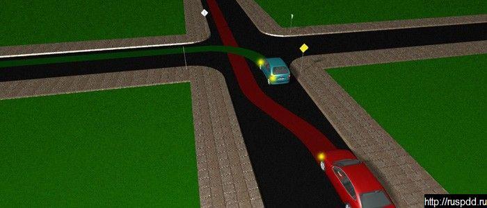 Обгон транспортного средства с включенным левым поворотником