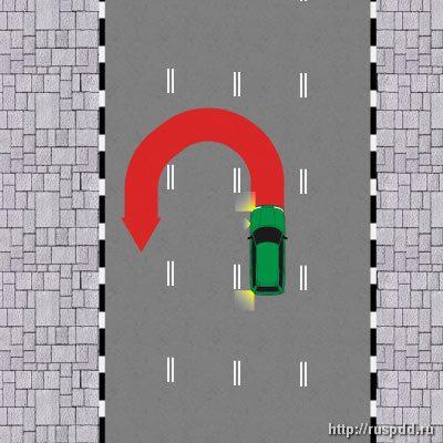 Разворот вне перекрестка запрещен на дорогах с реверсивным движением.