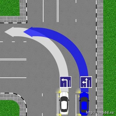 Дтп на регулируемом перерестке при повороте направо в левую полосу оно снова